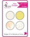 Embellissement Scrapbooking Carterie - Lot de 4 ptits badges Printemps 2019