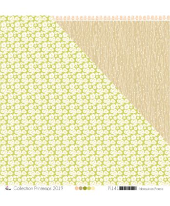 "Printed Paper Scrapbooking Card making - ""White Daisies & Eggshell on Pistachio Background"""