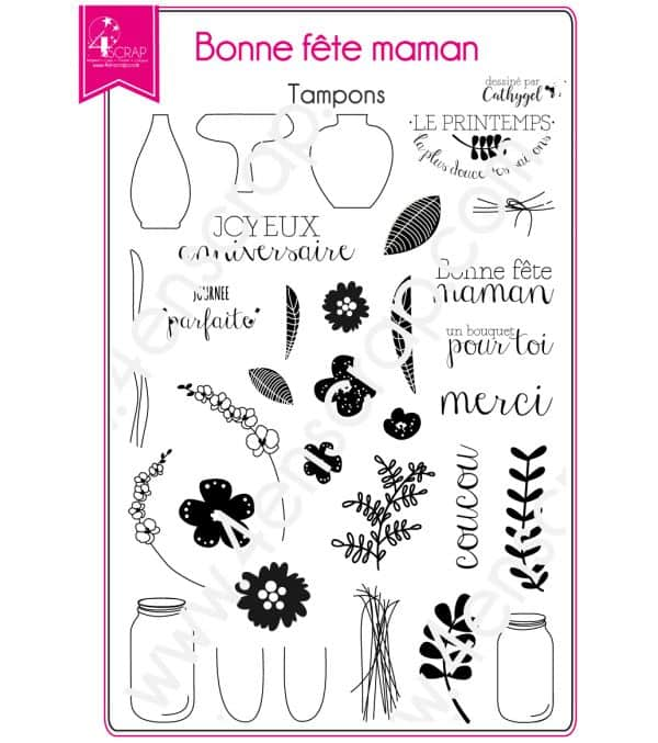 Tampon transparent Scrapbooking Carterie bouquet - Bonne fête maman