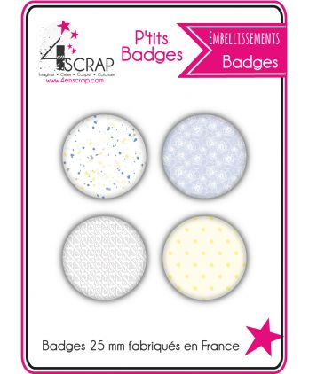 Embellissement Scrapbooking Carterie - Lot de 4 ptits badges Eté 2019