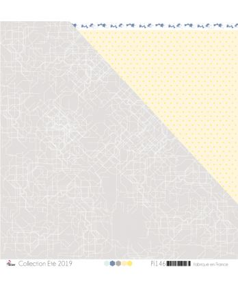 "Printed Paper Scrapbooking Card Making - ""White Metro Plan on Gray Background"""