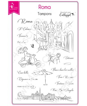 Clear Stamp Scrapbooking Card making Capital Italy City - Roma