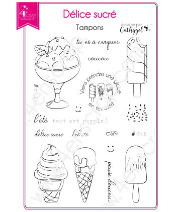 Clear Stamp Scrapbooking Card making Ice Cream Dessert Summer - Sweet Delight