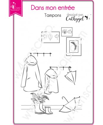 Clear Stamp Scrapbooking Card making umbrella coat boots cadres - In my entrance