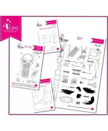 "Tampon transparent matrice die Scrapbooking Carterie - Pack ""DIY"""