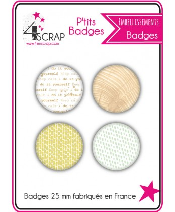 Embellissement Scrapbooking Carterie - Lot de 4 ptits badges Automne 2019