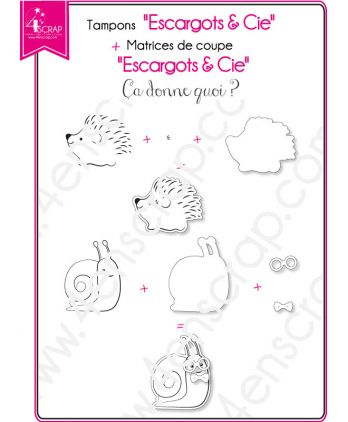 Tampon transparent matrice die Scrapbooking Carterie nature animaux - Escargots & Cie