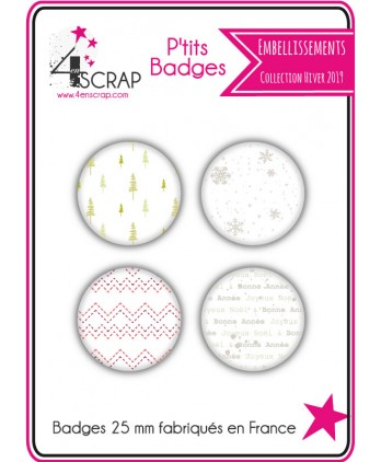 Embellishment Scrapbooking Card making - Pack of 4 small badges Winter 2019