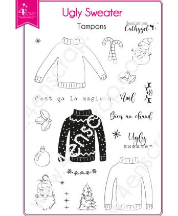 Clear Stamp Scrapbooking Card winter christmas - Ugly sweater