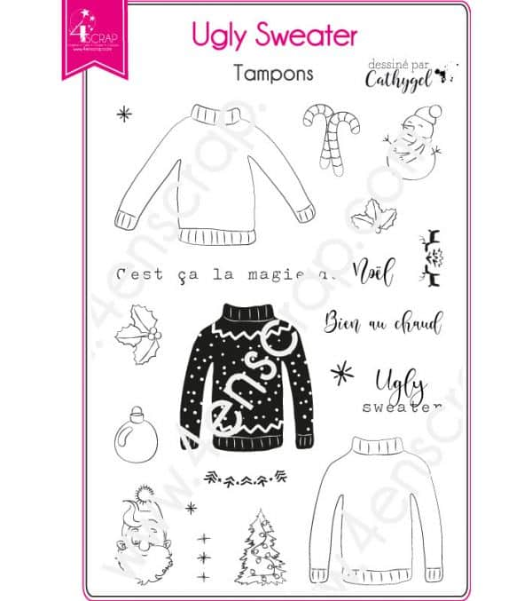 Tampon transparent Scrapbooking Carterie pull noël - Ugly sweater