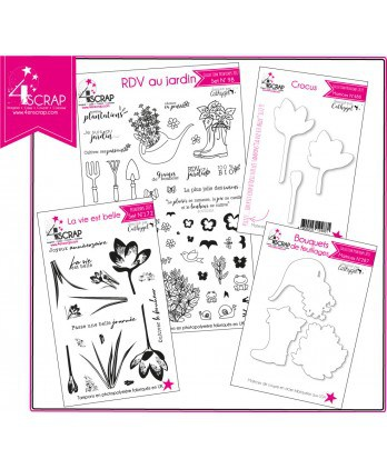 "Clear Stamp Die Scrapbooking  Card Making flower - Pack ""Garden"""