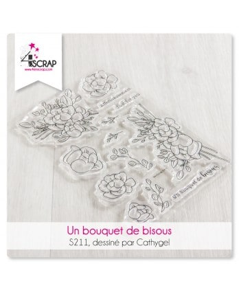 Clear stamp Scrapbooking Card making flowers -Bouquet of kisses