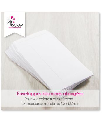 A customiser Scrapbooking Carterie - Enveloppes blanches allongées