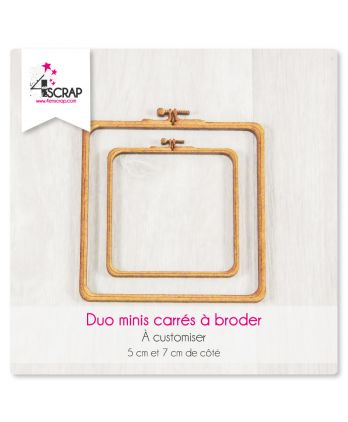 "A customiser Scrapbooking Carterie - DUO MINIS carrés ""A broder"""