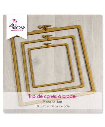 "A customiser Scrapbooking Carterie - Trio de carrés ""A broder"""