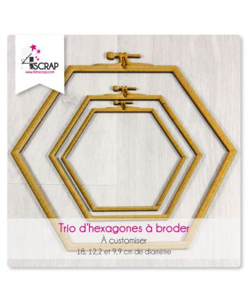 "A customiser Scrapbooking Carterie - TRIO d'hexagones ""A broder"""