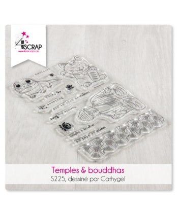 Tampon transparent Scrapbooking Carterie asie - Temples & bouddhas