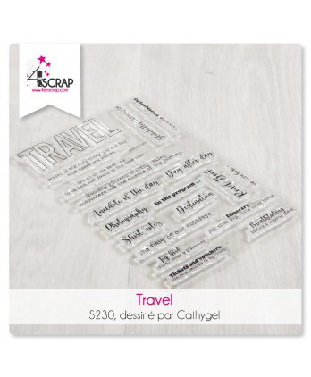 Tampon transparent Scrapbooking Carterie mot - Travel