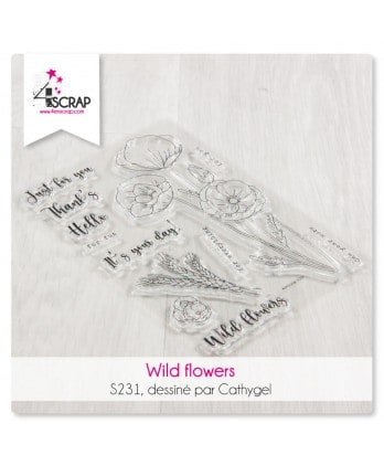 Clear stamp Scrapbooking Card making nature - Wild flowers