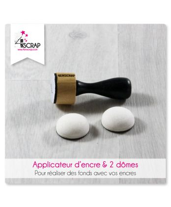Outil Scrapbooking Carterie fond - Applicateur d'encre & 2 dômes en mousse