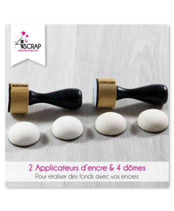 Outil Scrapbooking Carterie fond - Lot de 2 applicateurs d'encre & 4 dômes en mousse