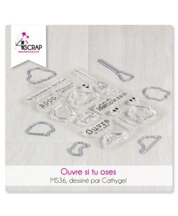 Tampon transparent matrice die Scrapbooking Carterie Halloween - Ouvre si tu oses