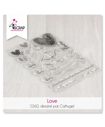 Tampon transparent Scrapbooking Carterie amour coeur - Love