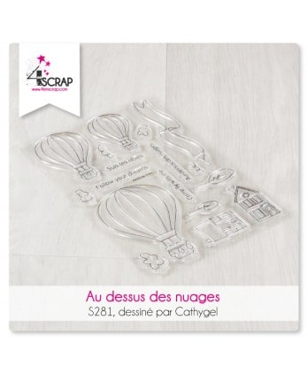 Clear stamp Scrapbooking Card - Above clouds