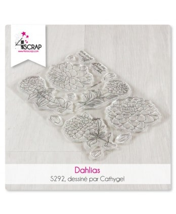 Stamp clear for scrapbooking and card making - Dahlias